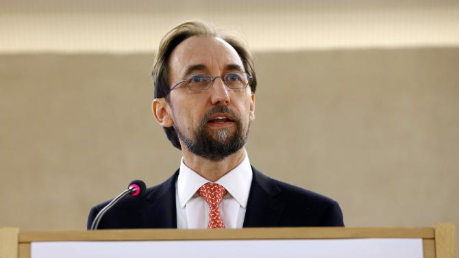 United Nations High Commissioner for Human Rights Ra'ad Al Hussein addresses the 28th Session of the Human Rights Council at the United Nations in Geneva