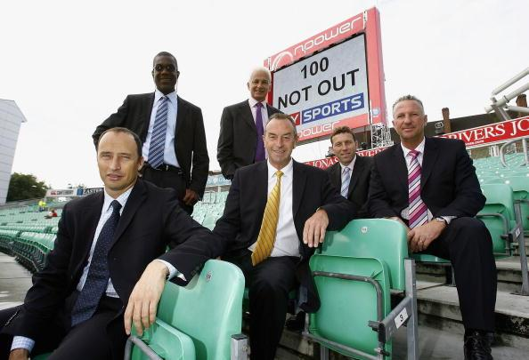 LONDON - AUGUST 17:  Sky commentators (back L-R) Michael Holding, David Gower, (front L-R) Nasser Hussain, David Lloyd, Michael Atherton and Ian Botham pose for a photograph as they celebrate Sky'