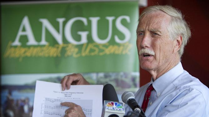 FILE - In this Aug. 17, 2012 file photo, Maine independent Senate candidate Angus King speaks at a news conference in Brunswick, Maine. Democrats are counting on their New England friends to help them pick up Republican-held Senate seats on Nov. 6 and construct a barrier against losses in Nebraska and elsewhere that could erase their majority. The National Republican Senatorial Committee has stopped spending money in Maine, where King, an independent, leads in the polls and is seen as likely to side with Democrats if he wins. (AP Photo/Robert F. Bukaty, File)