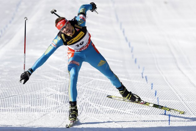 Andriy Deryzemlya of Ukraine crosses the finish line during the IBU Biathlon World Cup sprint in Holmenkollen in Oslo