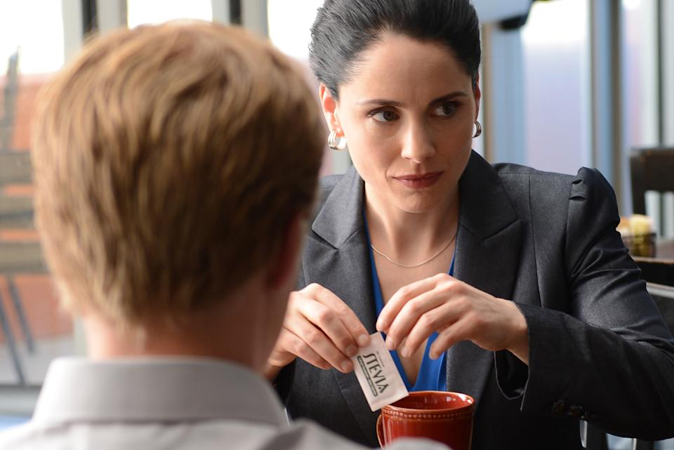 "This image released by AMC shows Lydia Rodarte-Quayle, played by Laura Fraser, right, using ricin-laced artificial sweetener in her camomile tea in a scene from the series finale of ""Breaking Bad."" (AP Photo/AMC, Ursula Coyote)"