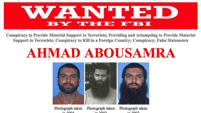 A wanted poster provided by the Federal Bureau of Investigation shows Ahmad Abousamra.  The FBI said they are seeking the public's help in locating Abousamra, a U.S. citizen from Mansfield, Mass.,  who was indicted in 2009 after taking multiple trips to Pakistan and Yemen, where he allegedly attempted to obtain military training for the purpose of killing American soldiers overseas, according to officials. (AP Photo/Federal Bureau of Investigation)