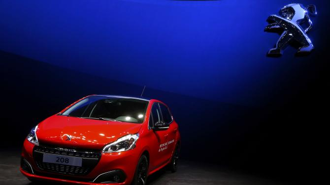 A Peugeot 208 is seen during the first press day ahead of the 85th International Motor Show in Geneva