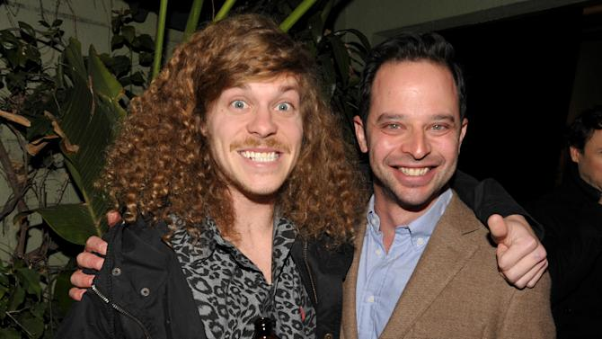 """Actor/writer Anders Holm, left, and actor/comedian Nick Kroll attend an exclusive screening of Comedy Central's """"Kroll Show"""" hosted by Entertainment Weekly on Tuesday, January 15, 2013 at LA's Silent Movie Theatre in Los Angeles. (Photo by John Shearer/Invision for Entertainment Weekly/AP Images)"""