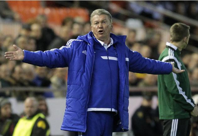 Dynamo Kiev's coach Blokhin reacts during their Europa League soccer match against Valencia in Valencia