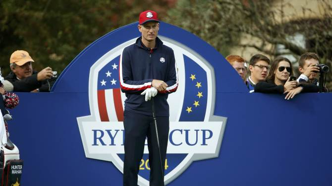 U.S. Ryder Cup player Jim Furyk waits at the 13th tee during practice ahead of the 2014 Ryder Cup at Gleneagles