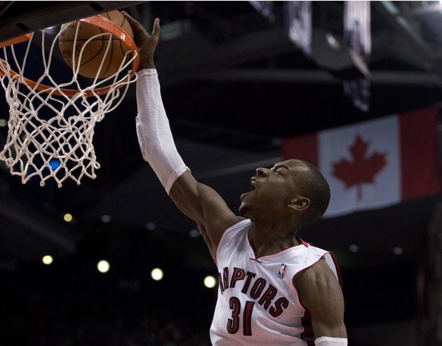 Toronto Raptors guard Terrence Ross slams home a dunk against the Phoenix Suns during the second half of an NBA basketball game in Toronto on Sunday, March 16, 2014