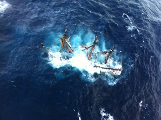 "A replica of the HMS Bounty that starred in Hollywood movies sank Monday in towering waves whipped up by mega-storm Sandy. Fourteen crew survived, but one was missing, and one was found ""unresponsive"" and later died.Duration: 00:47"