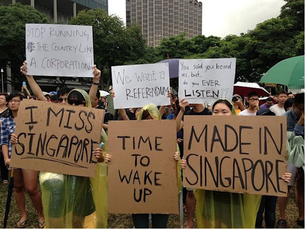 <p>Singaporeans participate in a protest against the Population White Paper released late last month by the government. (Yahoo! photo)</p>