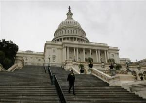 A U.S. Capitol police officer walks down the West Front steps of the U.S. Capitol in Washington