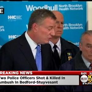 Commissioner Bratton, Mayor De Blasio News Conference On 2 NYPD Officers Killed In Brooklyn