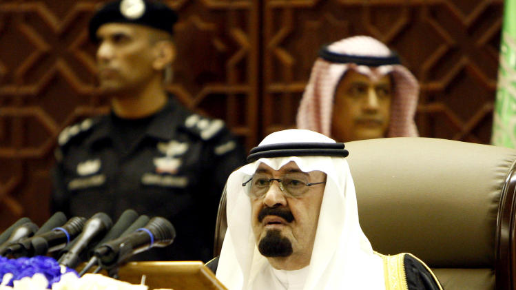 King Abdullah of Saudi Arabia delivers a speech to the Saudi Shura Council, or advisory assembly, in Riyadh, Saudi Arabia, Sunday, Sept. 25, 2011. Saudi King Abdullah has given the kingdom's women the right to vote for first time in nationwide local elections, due in 2015. (AP Photo)