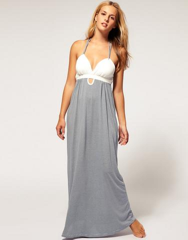 Padded Stripe Grecian Maxi Dress $60.34, at ASOS
