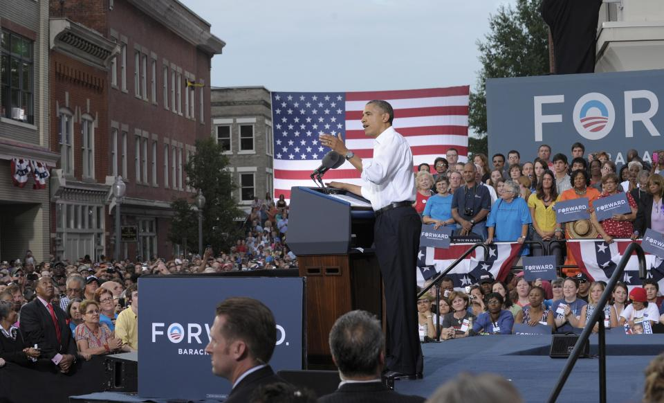 President Barack Obama speaks at a campaign event outside Roanoke Fire Station #1 in Roanoke, Va., Friday, July 13, 2012. Obama is spending the day campaigning in Virginia. (AP Photo/Susan Walsh)