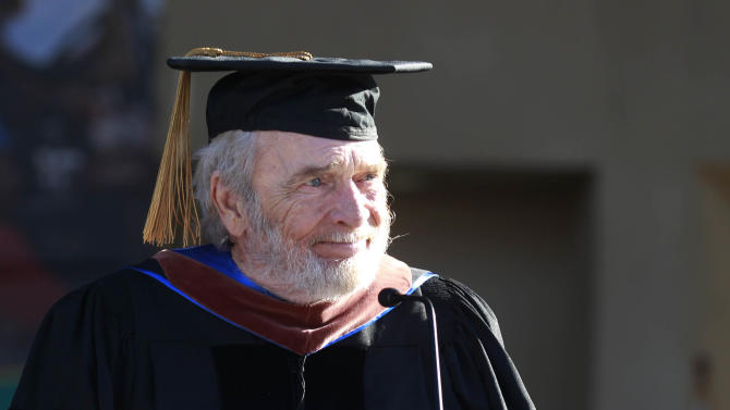 Dr. Merle Haggard makes a brief statement after receiving an Honorary Doctorate at California State University, Bakersfield on Friday June 14, 2013. (AP photo/The Bakersfield Californian, Felix Adamo)
