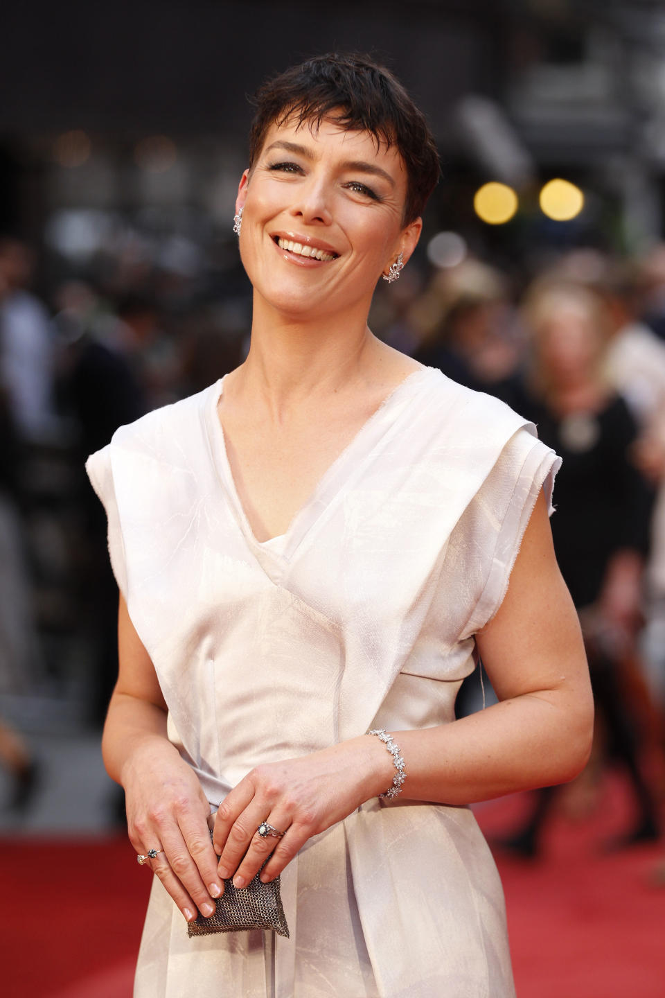 Cast member British actress Olivia Williams arrives for the world premiere of Anna Karenina in London, Tuesday, Sept. 4, 2012. (AP Photo/Sang Tan)