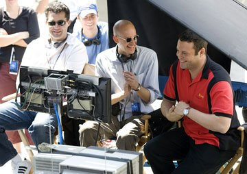 Producer Scott Stuber , director Peyton Reed and Vince Vaughn on the set of Universal Pictures' The Break-Up