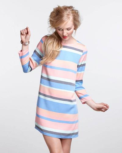 Striped Boatneck Mini Dress