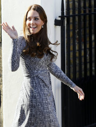 Britain&#39;s Kate, The Duchess of Cambridge arrives at Hope House, in London, Tuesday, Feb. 19, 2013. As patron of Action on Addiction, the Duchess was visiting Hope House, a safe, secure place for women to recover from substance dependence. (AP Photo/Kirsty Wigglesworth)