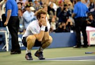 Andy Murray of Britain celebrates his 7-6, 7-5, 2-6, 3-6, 6-2 win over Novak Djokovic of Serbia during their men's singles final match at the 2012 US Open tennis tournament September 10, 2012 in New York