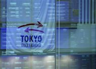 Market prices are reflected in a glass window at the Tokyo Stock Exchange in Tokyo. REUTERS/Toru Hanai