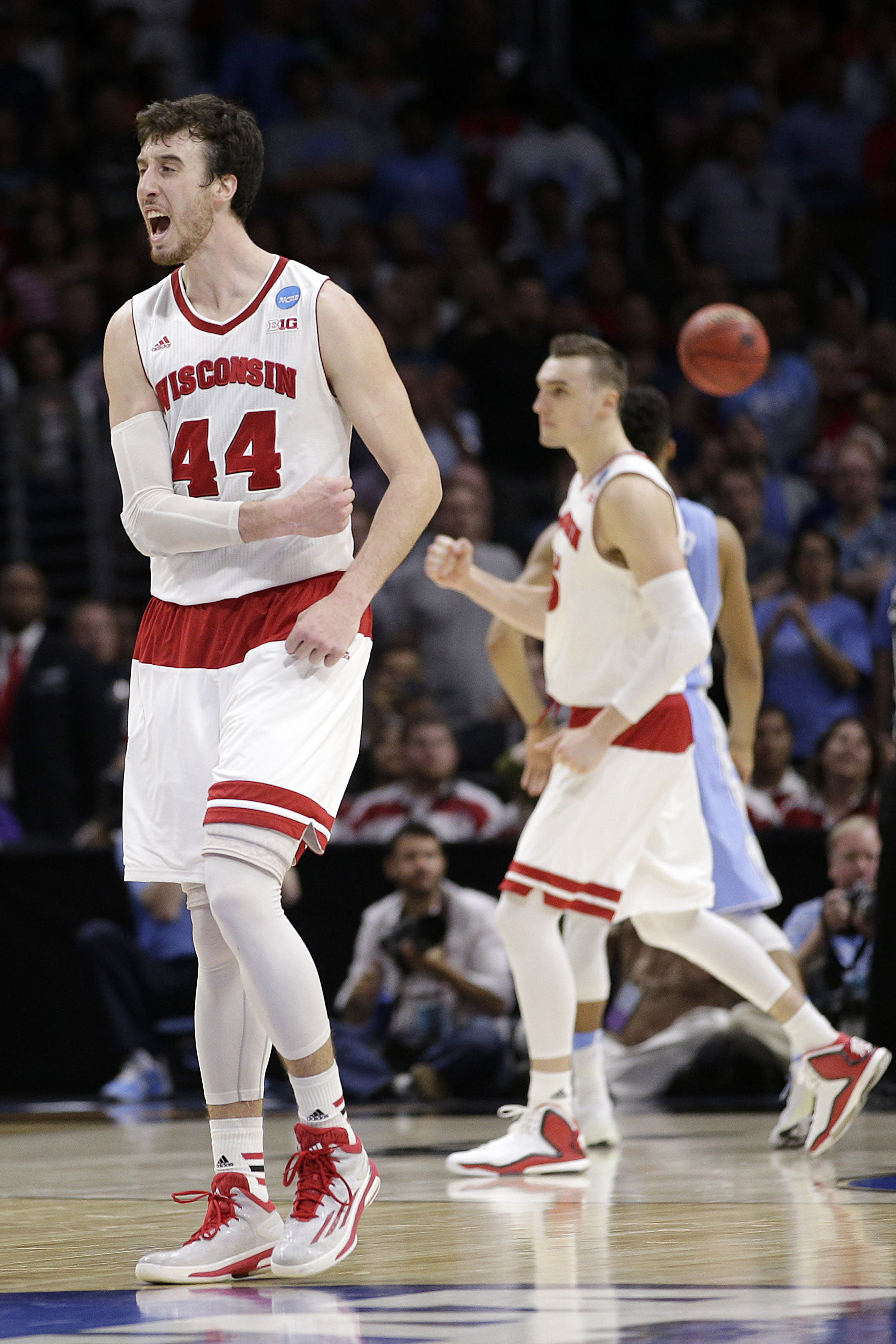 Top-seeded Wisconsin hangs on to beat North Carolina 79-72