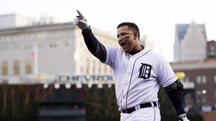 "FILE - In this Oct. 18, 2012, file photo, Detroit Tigers' Miguel Cabrera celebrates after hitting a two-run home run during the fourth inning of Game 4 of baseball's American League championship series against the New York Yankees in Detroit. Cabrera beat out Pittsburgh Pirates center fielder Andrew McCutchen and Los Angeles Angels rookie Mike Trout for the Players Choice Award as voted on by his fellow major leaguers. ""It makes you feel proud and makes you feel like you've got to work harder, you've got to work to get better,"" the 29-year-old third baseman said Monday, Nov. 5. (AP Photo/Matt Slocum, File)"