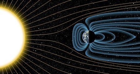 An artist's depiction of Earth's magnetic field deflecting high-energy protons from the sun four billion years ago