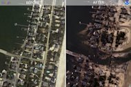 "Mantoloking, New Jersey. ""Before"" image captured by Google; ""After"" image captured by NOAA's National Geodetic Survey. Note the new inlet created by Hurricane Sandy-caused storm surge."
