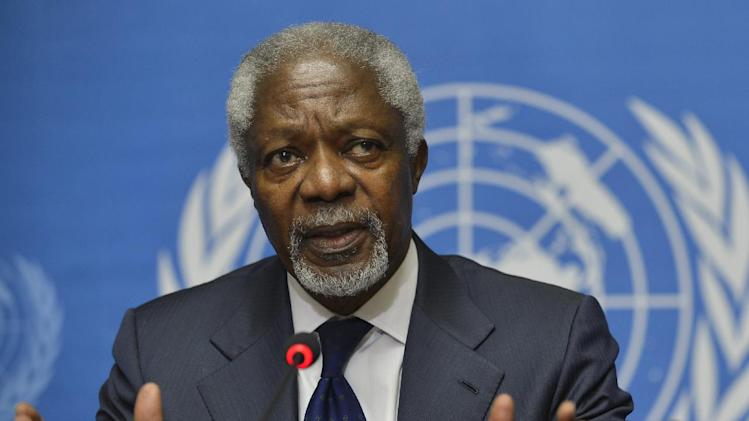 Kofi Annan, Joint Special Envoy of the United Nations and the Arab League for Syria speaks during a news conference following the Action Group on Syria meeting in the Palace of Nations, Saturday, June 30, 2012, at the United Nations' Headquarters in Geneva, Switzerland. (AP Photo/Martial Trezzini, Keystone)