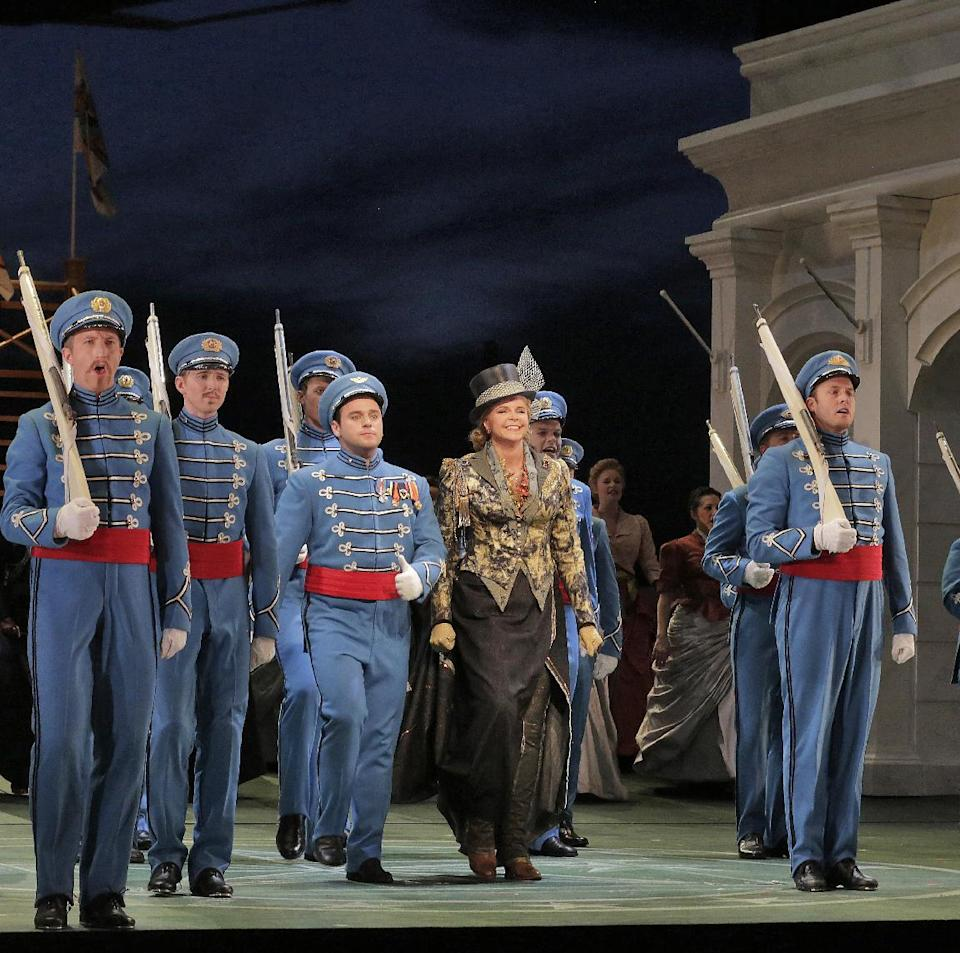"This June 2013 photo provided by the The Santa Fe Opera shows Susan Graham during a rehearsal with the chorus in ""The Grand Duchess of Gerolstein,"" at the Santa Fe Opera in Santa Fe, N.M. (AP Photo/The Santa Fe Opera, Ken Howard)"