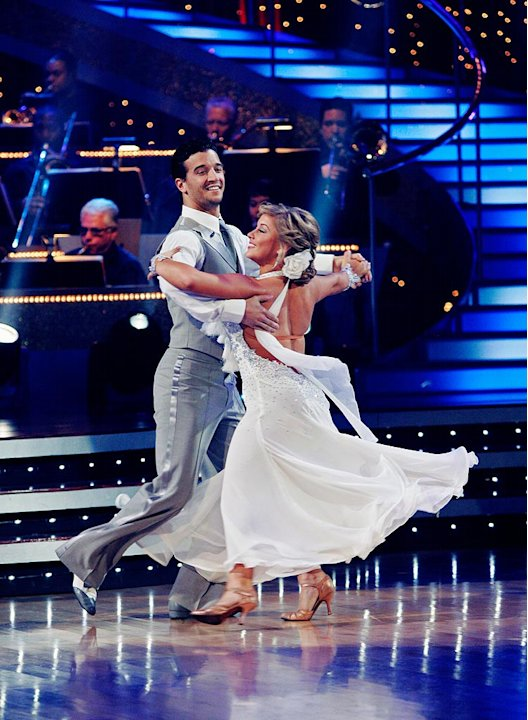"Shawn Johnson and Mark Ballas perform the Viennese Waltz to ""Ordinary Day"" by Vanessa Carlton on ""Dancing with the Stars."""