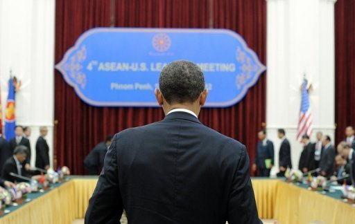 <p>US President Barack Obama is pictured at the Peace Palace in Phnom Penh. He is set to dive into the tumultuous diplomatic waters of the South China Sea on Tuesday at a summit in which rival claims to the strategically vital area have dominated.</p>