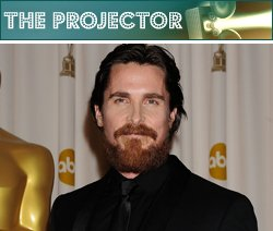 Now that he's won an Academy Award, Christian Bale is contractually obligated to have a giant Oscar statue next to him at all times. Jeffrey Mayer/WireImage