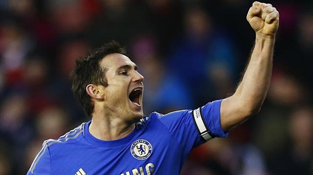 Frank Lampard celebrates scoring for Chelsea (Reuters)