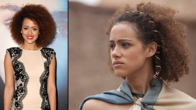 Nathalie Emmanuel at the 'Game of Thrones' premiere (left) and as Missandei in Season 3 (right) -- Getty ImagesKeith Bernstein/HBO