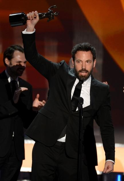 Ben Affleck accepts the award for Outstanding Performance by a Cast in a Motion Picture for 'Argo' onstage during the 19th Annual Screen Actors Guild Awards held at The Shrine Auditorium on January 27, 2013 (Photo by Getty Images)  --
