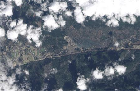 NASA satellite image of landslide near Oso, Washington