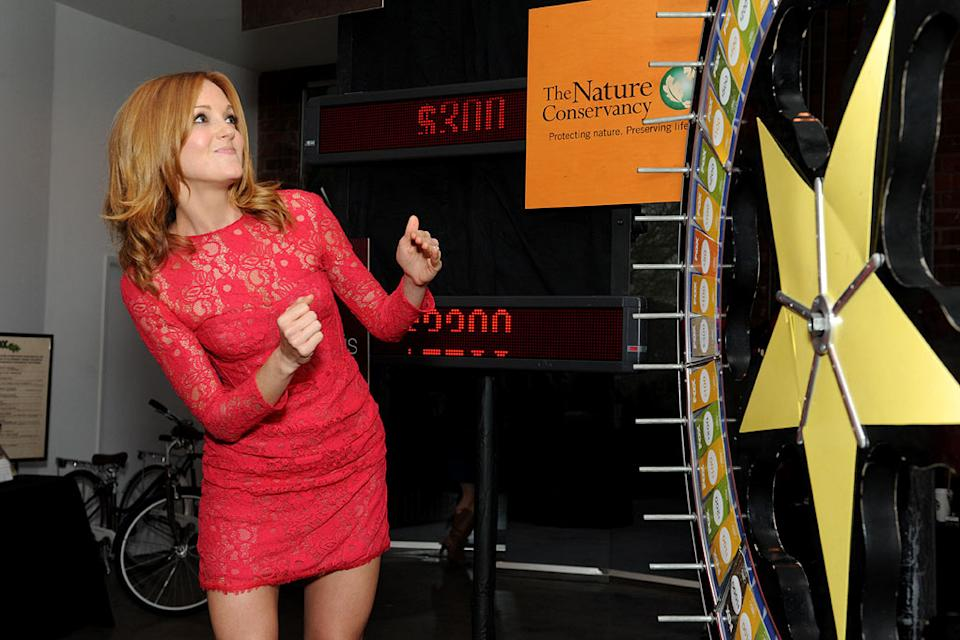 "Jayma Mays of ""Glee"" spins the wheel for charity at the 2011 Fox Fall Eco-Casino Party at The BookBindery on September 12, 2011 in Culver City, California."