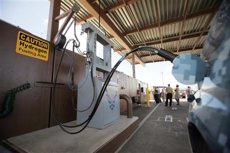 A special hydro-cell vehicle gets refueled at an alternative energy facility into hydrogen in Honolulu in this file photo