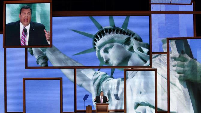 New Jersey Governor Chris Christie address the Republican National Convention in Tampa, Fla. on Tuesday, Aug. 28, 2012.  (AP Photo/J. Scott Applewhite)