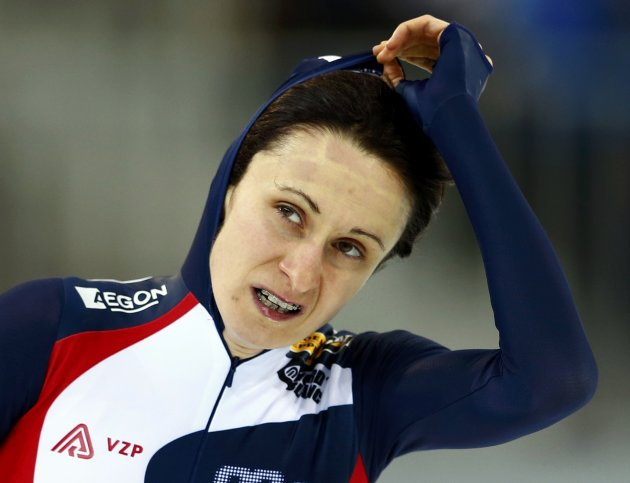 Sablikova of the Czech Republic reacts as she took the second place during the women's 3000m speed skating event at the Essent ISU World Single Distances Championships 2013 in Sochi