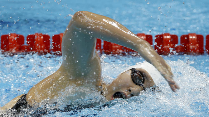 China's Ye Shiwen competes in a women's 200-meter individual medley swimming heat at the Aquatics Centre in the Olympic Park during the 2012 Summer Olympics in London, Monday, July 30, 2012. (AP Photo/Daniel Ochoa De Olza)