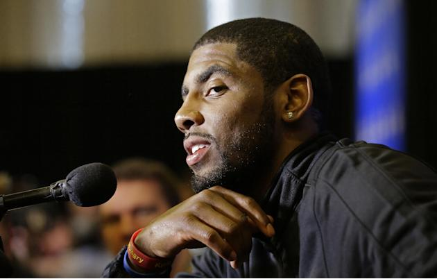 Cleveland Cavaliers' Kyrie Irving speaks during the NBA All Star basketball news conference, Friday, Feb. 14, 2014, in New Orleans. The 63rd annual NBA All Star game will be played Sunday in New O