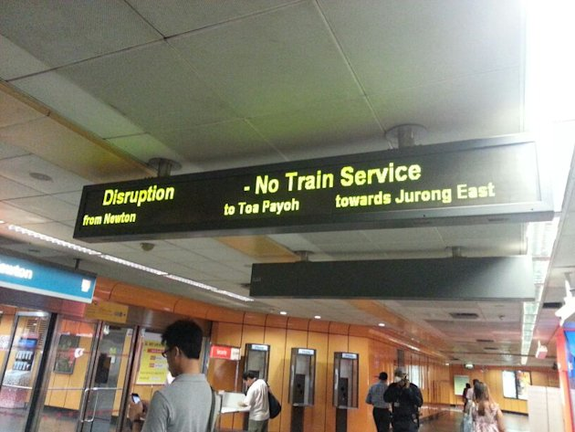 The fire caused disruption along the North-South Line.