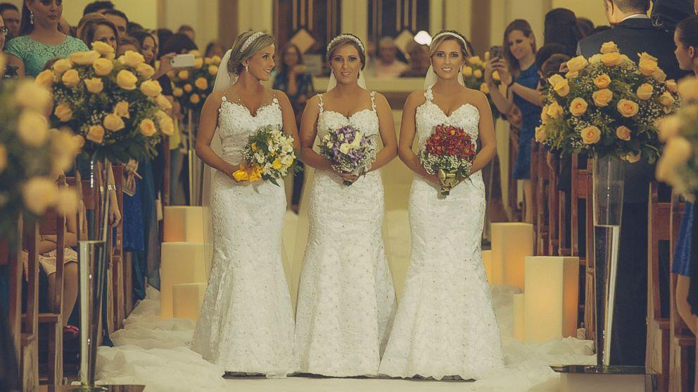 Identical Triplet Sisters Get Married Together in Joint Wedding in Brazil