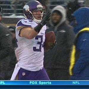 Minnesota Vikings safety Andrew Sendejo picks off Baltimore Ravens QB Joe Flacco
