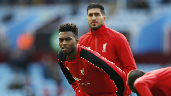 Liverpool's Daniel Sturridge warms up before the game