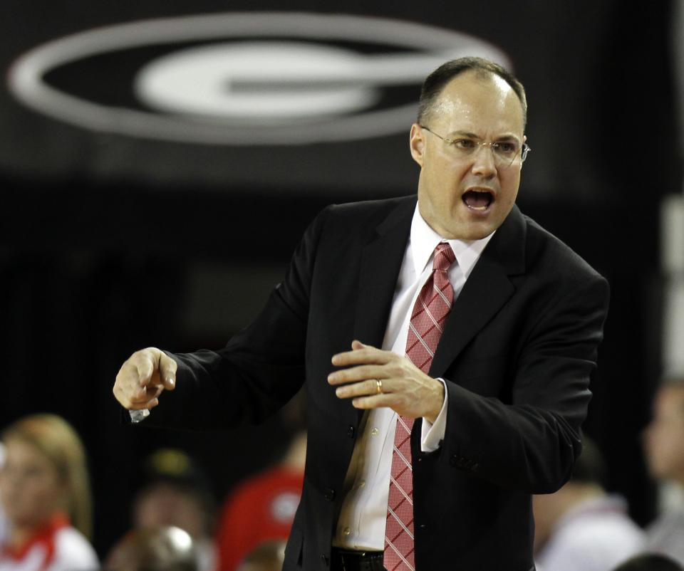 Georgia coach Mark Fox yells at an official during the second half of an NCAA college basketball game against Kentucky on Tuesday, Jan. 24, 2012, in Athens, Ga. Kentucky won 57-44. (AP Photo/John Bazemore)
