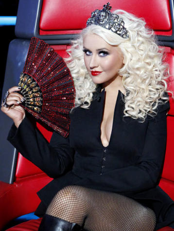 Pantsless Christina Aguilera Wears Tiara, Fishnets on The Voice